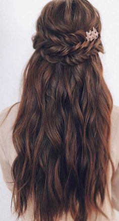 43 Gorgeous Half Up Half Down Hairstyles, partial updo hairstyle , braid half up half down hairstyles , bridal hair ,boho hairstyle Braided Hairstyles For Wedding, Formal Hairstyles, Bride Hairstyles, Down Hairstyles, Gorgeous Hairstyles, Indian Hairstyles, Front Hair Styles, Medium Hair Styles, Partial Updo