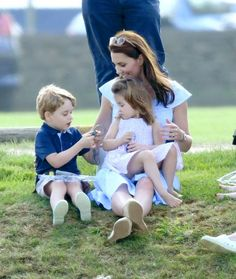 See Kate Middleton playing in the park with children Prince George and Princess Charlotte at the Maserati Royal Charity Polo Trophy at Beaufort Polo Club in Gloucestershire just one day after Trooping the Colour.