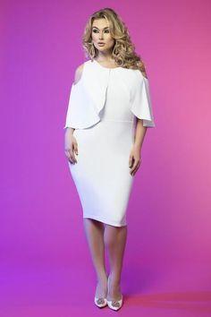 Cold Shoulder Capelet Dress (White)