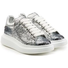 Alexander McQueen Glitter and Leather Sneakers ($575) ❤ liked on Polyvore featuring shoes, sneakers, silver, leather sneakers, sparkle sneakers, glitter sneakers, platform shoes and platform trainers