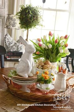 25 Gorgeous DIY Easter Tablescape Decorating Ideas For Spring Tablescapes 25 Gorgeous DIY Easter Tablescape Decorating Ideas For Spring Kitchen Vignettes, Diy Kitchen Decor, Kitchen Ideas, Kitchen Display, Shelf Display, Kitchen Modern, Ikea Kitchen, Kitchen Stuff, Kitchen Island