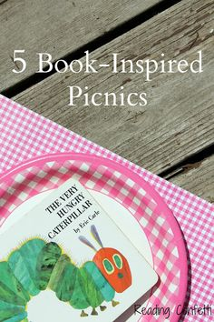 5 picnic lunches with food chosen  inspired by popular children's books.3/5 include some of our 100 books-The Three Little Pigs, The Very Hungry Caterpillar and The Rainbow Fish. Imaginative prompts include rainbow kebabs  and fish scales  (crackers in tinfoil).