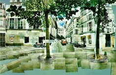 "David Hockney ""Place Furstenberg, Paris"" August 7,8,9, 1985 #1 1985  Photographic collage, 88.9 x 80 cm > à voir au Grand Palais en ce moment, à l'exposition Picasso Mania"