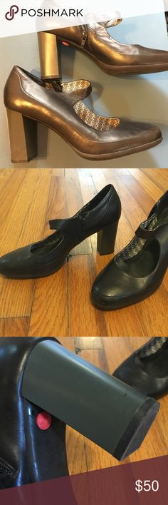 Black Campers shoes Brand new, never worn Campers (besides trying them on in my house). Size 40, but runs small, fits me and I take a 39. Black leather upper, dark grey heal. Great shoe that I love - just too tall for me. Camper Shoes Heels