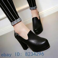 Womens ladies sexy high retro block heel round toe fashion platform pumps shoes