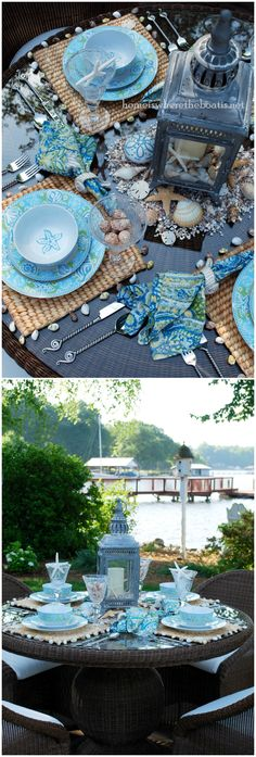 Seaside Dining beach tablescape | ©homeiswheretheboatis.net #summer #tablesetting #beach