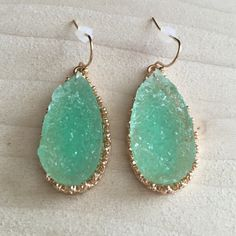 Mint Green Druzy Drusy Tear Drop Earrings Brand-new with one and a half inch drop. Same day or next day shipping. No trades and no holds. 20% off bundles. Jewelry Earrings