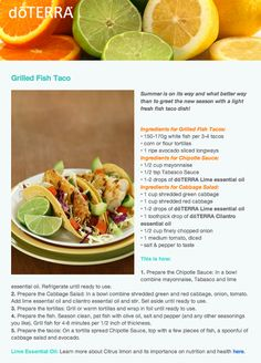 Grilled Fish Tacos with doTERRA Lime and Cilantro essentail oils