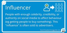 An Influencer is essentially the internet version of a celebrity. The unofficial definition of an influencer says that you need at least 10,000 followers to be classed as an influencer, but the truth is more nuanced than that. You need to be able to influence the decision making power of your followers on social media. If you can do that, then advertisers will pay you to advertise their brand. #Influencer | #DigitalMarketing You Can Do, Did You Know, Marketing Definition, How To Influence People, Decision Making, Definitions, Behavior, Knowing You, Digital Marketing
