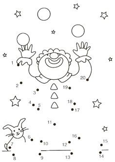 20 prikker, klovn by cassie Preschool Circus, Circus Crafts, Primary School, Pre School, Connect The Dots, Circus Theme, Activity Sheets, Math For Kids, Kindergarten Math