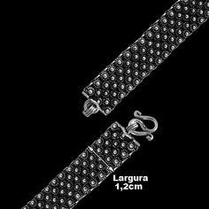 Pulseira de Prata Bali Feminina - 29478. Prata 925 . Possui detalhes rococó em alto relevo. Prata envelhecida.