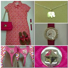 Jude Connally Emily Dress in Mod Square Coral, Kate Spade Christy Purse in Pink,  Tory Burch Cameron Sandal in Pink,  Micheal Kors Watch with Pink Strap,  Dogeared Elephant Necklace