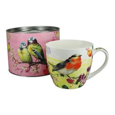 Vintage Robins and Birds Big Mug in Tin
