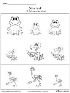 Shortest Length: Teach the concept of length (long and short) to your preschooler with this printable size worksheet. Worksheet For Nursery Class, Fun Worksheets For Kids, Nursery Worksheets, Printable Preschool Worksheets, Kindergarten Math Worksheets, Math For Kids, Preschool Writing, Preschool Learning Activities, Preschool Education