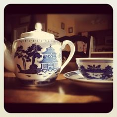 Teapot-Blue and White Asian Inspired