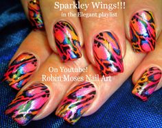 Rainbow Sparkley Wings up for Friday! #nailart #tutorial #howtonails #nailsDIY #nailartdiy #diynailart #ladybugs #nailart #summernails #nails #rainbow #summer #butterfly #wings