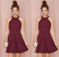 Classy Cocktail Dress Sexy Short Cocktail Party Dresses 2015 Halter Backless Burgundy A Line Above Knee Length Prom Homecoming Gowns Custom Made Women Formal Wear Cocktail Maxi Dresses From Nameilishawedding, $68.07| Dhgate.Com