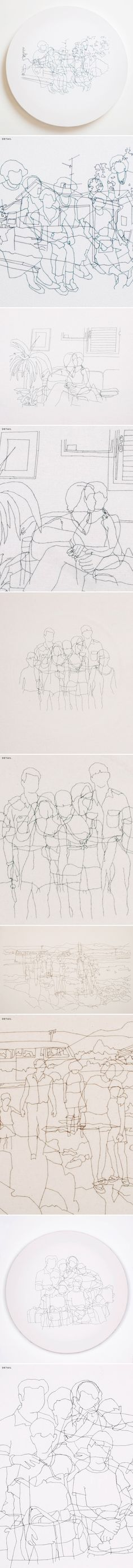 """embroidered """"drawings"""" by hagar cygler - """"families"""" series"""