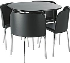 Hygena Amparo Black Dining Table And 4 Chairs
