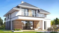 Projekt domu Oszust 2 132,02 m² - koszt budowy - EXTRADOM House Plans Mansion, Dream House Plans, Modern House Plans, House Outside Design, House Design, Best Architects, Facade House, Home Fashion, My House