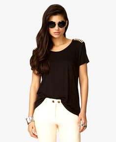Spiked Shoulder Tee | FOREVER21 - 2028361641