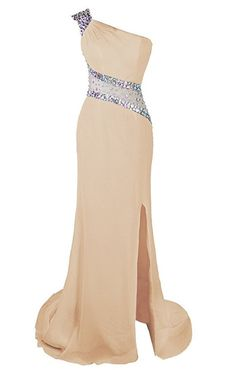 One Shoulder Beaded Prom Dress Evening Party Gowns Side Slit,278