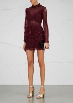 Burgundy ruffled guipure lace dress