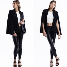 """""""The Wait"""" Black Cape Blazer Gorgeous black cape blazer! The perfect finishing touch to any outfit. Brand new. True to size. PRICE FIRM. NO TRADES. This is an actual pic of the item all photography done personally by me. Small 19 inches pit to pit, length 26.5 inch. 55 cotton 40 poly 5 spandex Bare Anthology Jackets & Coats Blazers"""