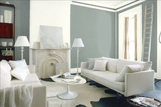 Look at the paint color combination I created with Benjamin Moore. Via Wall: Swiss Coffee Accent Wall: Nightfall Trim: Simply White Share your saved colors, start a new search or go to your local Benjamin Moore retailer for samples. Blanc Benjamin Moore, Benjamin Moore Colors, Benjamin Moore Winds Breath, Benjamin Moore Camouflage, Cloud Cover Benjamin Moore, Benjamin Moore Iceberg, Glass Slipper Benjamin Moore, Benjamin Moore Shoreline, Benjamin Moore Halo