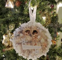 Vintage ornaments from recycled CDs and old Christmas cards - An Old-Fashioned Christmas: Rustic and Vintage Christmas Décor - ParentMap