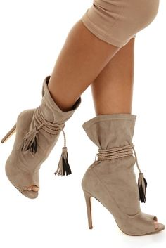 Taupe Roped In Booties | WindsorCloud