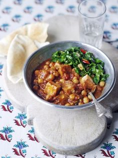 Have you tried tofu before? Give this vegan curry recipe a go! It's full of spices, chickpeas, tofu, and it's all balanced out with cumin-spiked spring greens. Tasty Vegetarian Recipes, Tofu Recipes, Curry Recipes, Indian Food Recipes, Cooking Recipes, Healthy Recipes, Pescatarian Recipes, Savoury Recipes, Protein Recipes