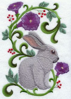 Rabbit in Flowers - Champagne D'Argent