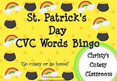 This collection includes downloads for a class set of 25 CVC word bingo cards featuring St. Patrick's Day theme.  You print the number you need!Christy's Cutesy Classroom