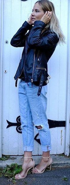 cuffed ripped boyfriend jeans  elfsacks