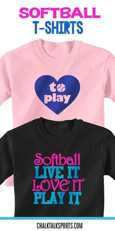 Nothing but love for the game!  These adorable softball t-shirts would make a great gift for any softball player! We even have designs you can customize! Only from ChalkTalkSPORTS.com!