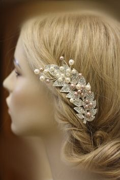 Bridal Hair Comb, Pearl Comb, Crystal Comb, Swarovski Comb, Spray, Leaf, Leaves, Branch, Champagne pearls, Ivory Pearls by simplychic93 on Etsy