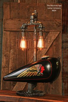 Steampunk Tank Lamp Vintage c1930 Indian Chief Motorcycle  Gas Tank - #804