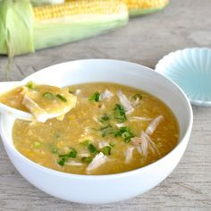Chinese Chicken and Corn Soup - authentic, and on the table in 10 minutes! Sweet, thick, warms your soul.