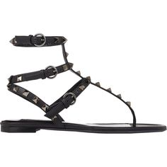 Valentino Rockstud Flat Thong Sandals ($975) ❤ liked on Polyvore featuring shoes, sandals, flats, flat sandals, sapatos, black, black sandals, leather flats, embellished flat sandals and black open toe flats
