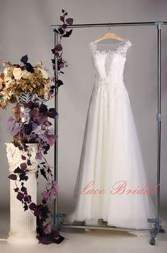 Haute qualité dentelle mariage robe, robe de mariée de col Bateau, robe de mariage Simple, robe de mariée a-ligne