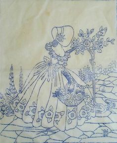 Garden path and small tree pattern Iron On Embroidery, Embroidery Transfers, Hand Embroidery Patterns, Vintage Embroidery, Ribbon Embroidery, Cross Stitch Embroidery, Machine Embroidery, Art Deco Print, Crochet Quilt