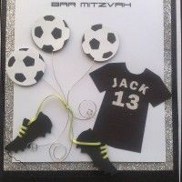 "Football Birthday Card. bat mitzvah football. Handmade to client's instruction (""he likes football"")."
