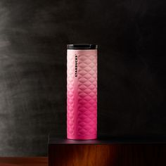 A slender stainless steel coffee tumbler with a quilted texture and gradient pink finish. Part of the Valentine's Day Collection. Starbucks Flask, Starbucks Drinkware, Best Starbucks Drinks, Pink Starbucks, Starbucks Bottles, Coffee Tumbler, My Coffee, Reusable Water Bottles, Plastic Tumblers