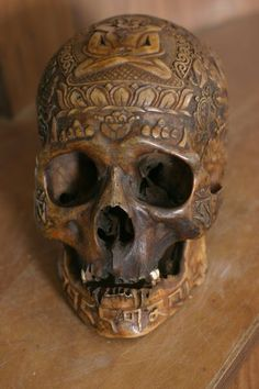 A Tibetan engraved skull or Kapala are embellished with silver and semi-precious stones and is commonly used as a ritual bowl to drink blood out of; performed at ancient human sacrifice rituals.