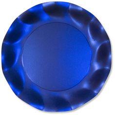 Piatti piani in cartoncino Blu satinato. 10 piatti pari diam.27 cm. Usa e Getta, ad uso alimentare. Apparecchiare non solo a Natale. Disponibili da C&C Creations Store