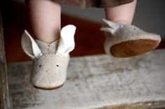 Wooly Baby Thumpers Bunny Shoes for Baby Easter Shoes by WoolyBaby