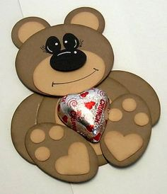 Teddy made with die-cut shapes and punches - perfect for a little boys 1st b'day 'teddybear picnic theme!