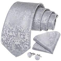 Shining Silver White Floral Men's Tie Handkerchief Cufflinks Set – ties2you