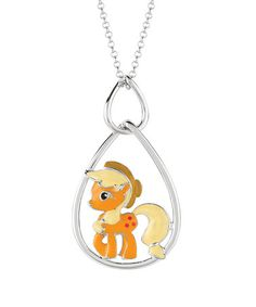 Silverplated applejack my little pony pendant necklace 20 take a look at this silver applejack teardrop pendant necklace by my little pony on mozeypictures Images